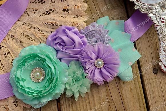 """Lavender & Aqua Delight"" Petite Maternity Sash"