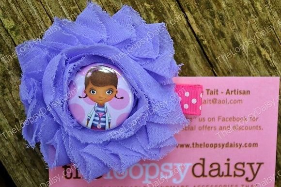 Purple & Pink Doc McStuffins-inspired Shabby Bow