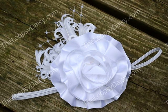 White Satin Rose Vintage Headband
