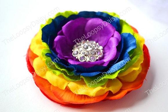 "Radiant ""Rainbow Deluxe"" Flower Clip or Headband"