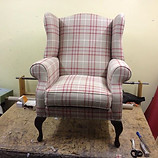 Just finished this wing chair in a check