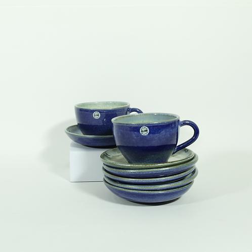 Koffietas - blauw/marmergroen