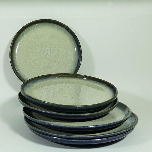 Plat bord - blauw/marmergroen