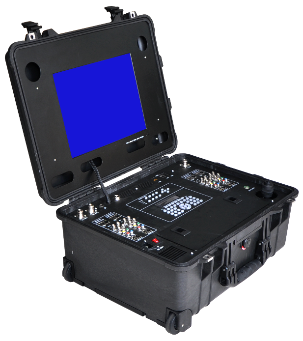 Portable suitcase video receivers