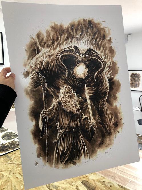 Gandalf & Balrog (Edición Especial 70x50cm)-Coffee Art