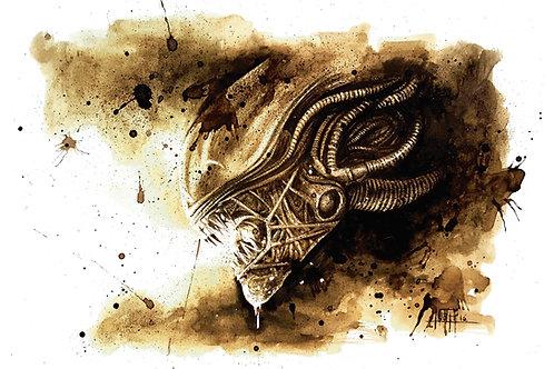 Alien-Original Coffee Art