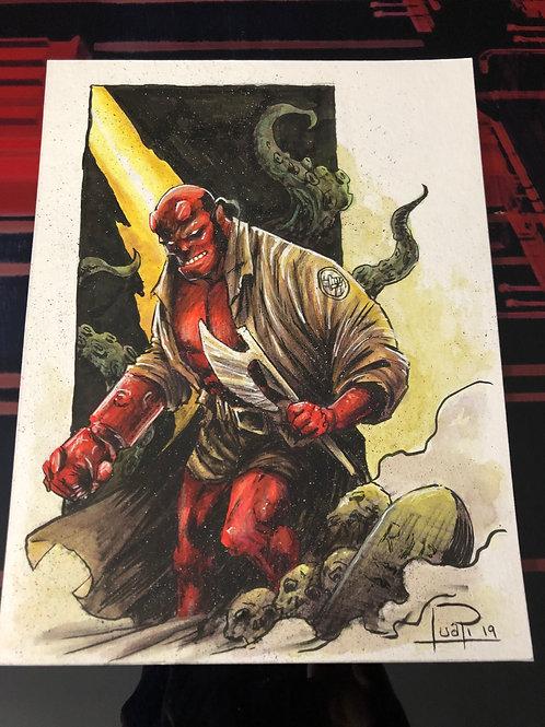 Hellboy - Copic, Watercolor, Posca & Prismacolor