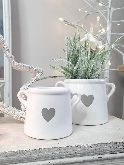 White & Grey Heart Pot With Handles