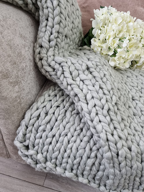 Chunky Grey Knitted Throw