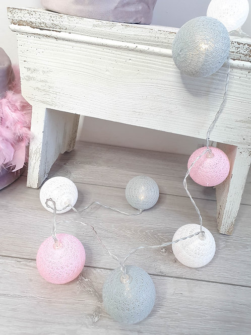Pastel Lace LED Ball Garland
