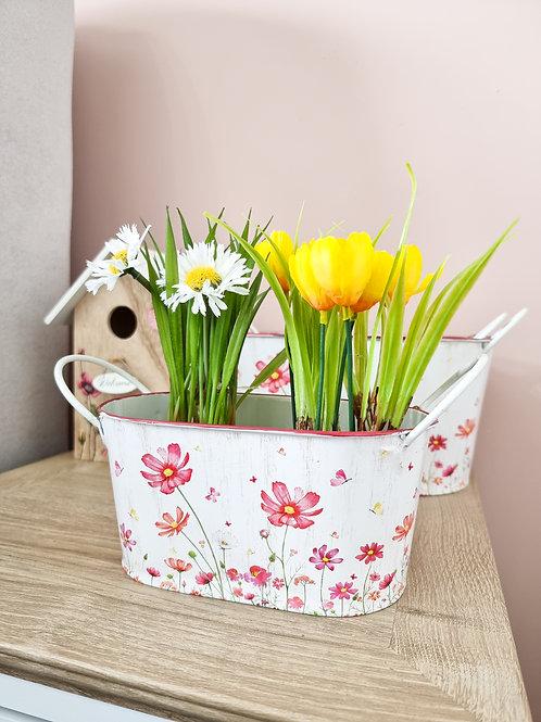 Summer Pink Floral Planter/Trug