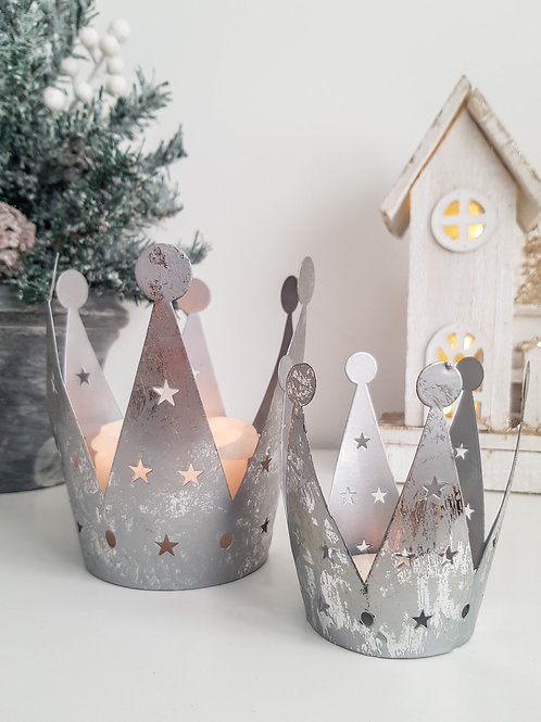 S/2 Silver Star Crown Candle Holders