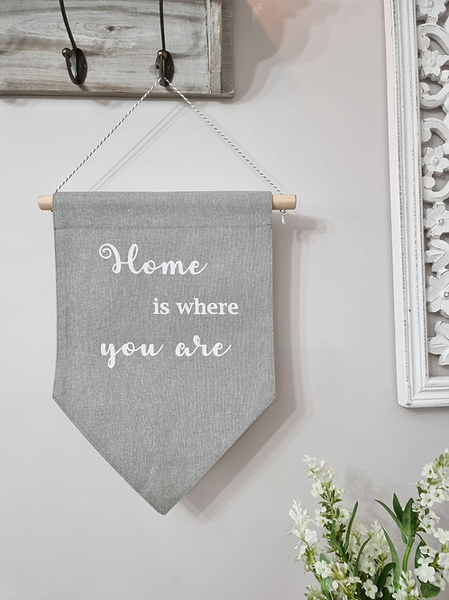 Home Is... Dove Grey Fabric Hanger