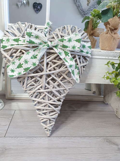Grey Wicker Heart With Christmas Bow