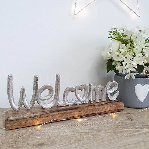 Silver Metal Welcome Decoration With Heart