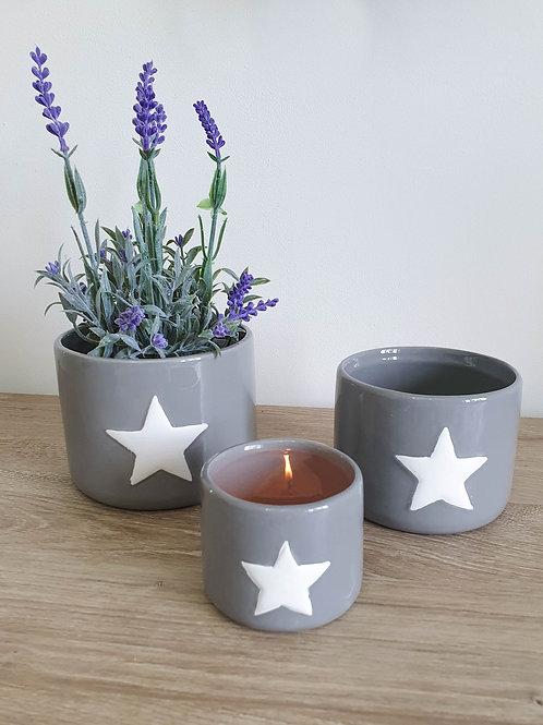Grey Star Ceramic Pots S/3 **IMPERFECT**