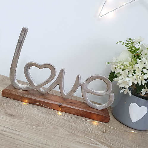 Silver Metal Love Decoration With Heart