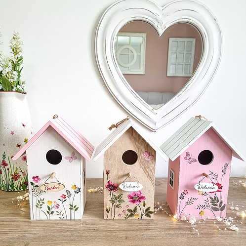 Rustic Floral Hanging Bird House