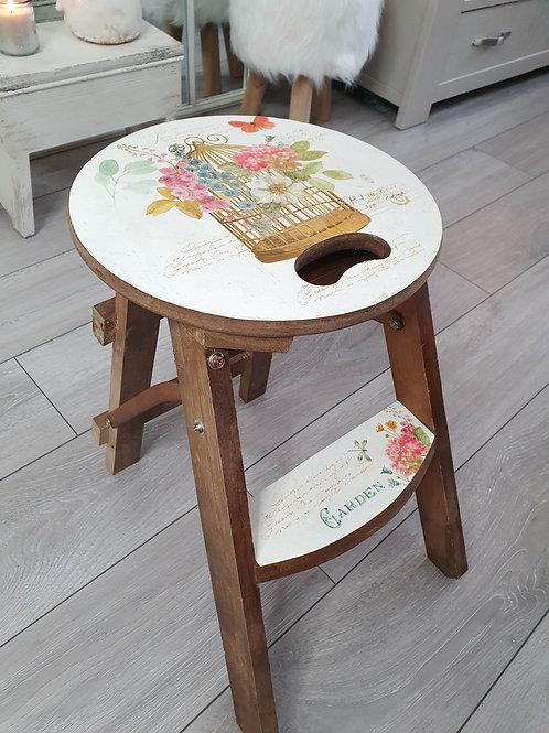 Wooden Floral Birdcage Step Stool