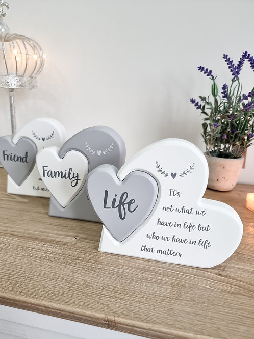 Grey & White Heart In Heart Plaque