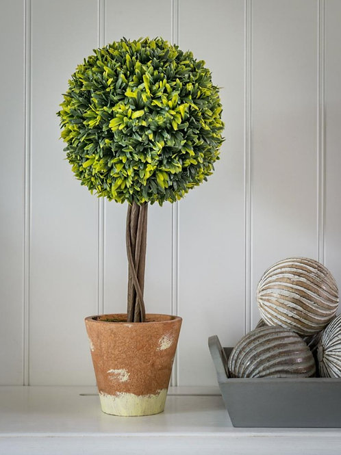 Faux Large Topiary Ball Tree In Pot
