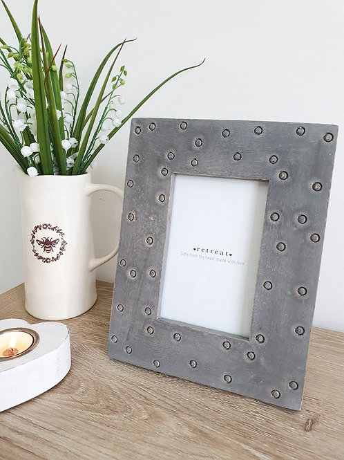 Grey Hand Carved Polka Pot Photo Frame