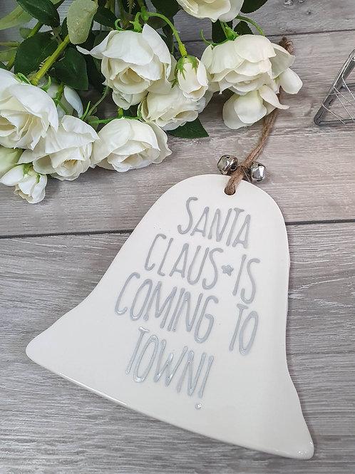 White Ceramic Santa Claus Hanging Bell