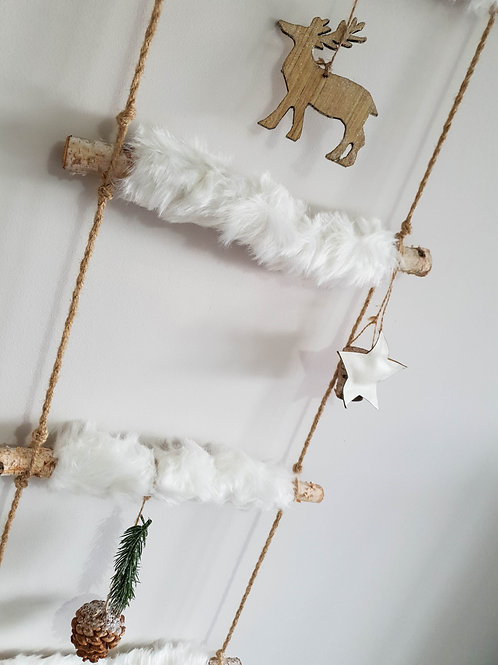 White Fluffy Hanging Decorated Ladder