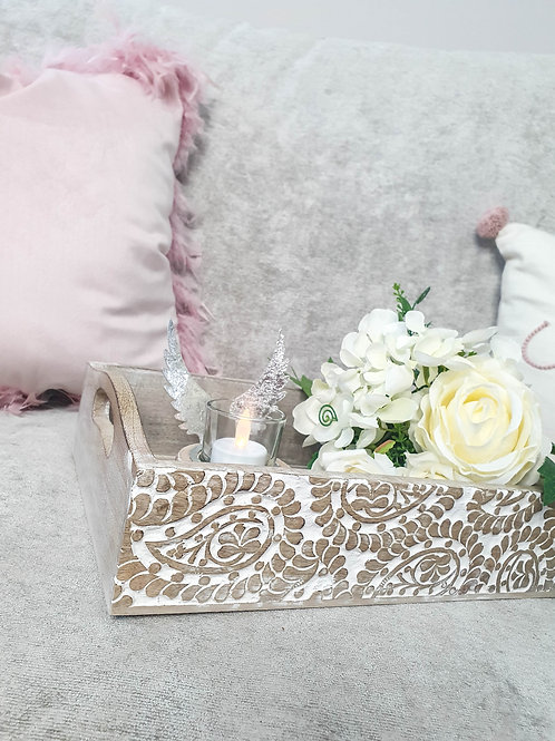 Paisley Hand Carved Wooden Tray