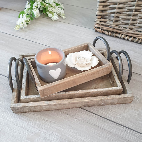 Rustic Wooden Tray Set With Handles