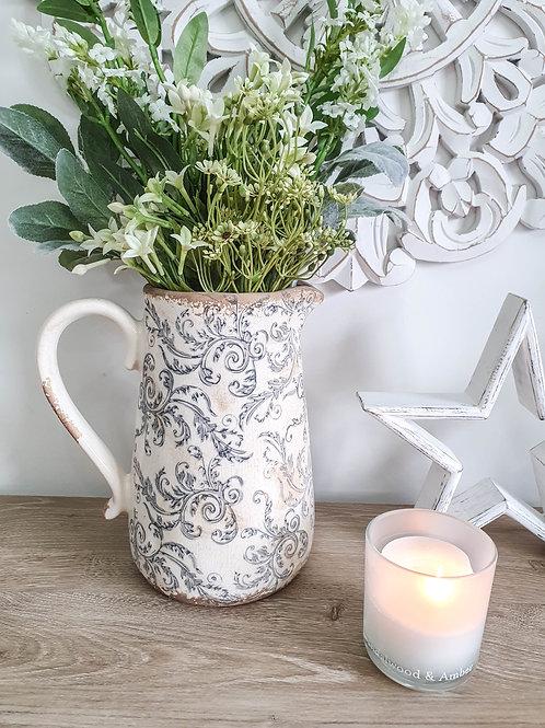 Vintage Grey Floral Ceramic Jug
