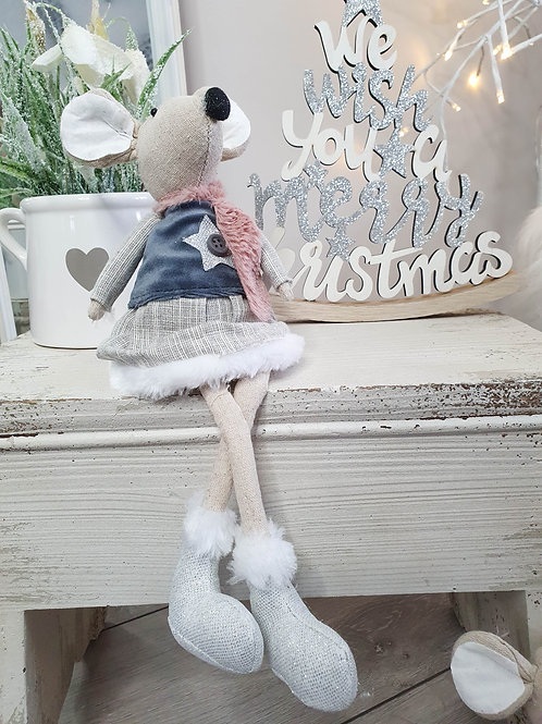 Sitting Fabric Winter Mouse Decoration