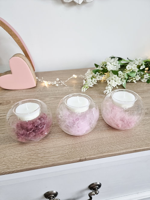 Ombre Feather Filled Glass Candle Holders