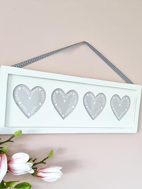 White 4 Heart Hanging Photo Frame