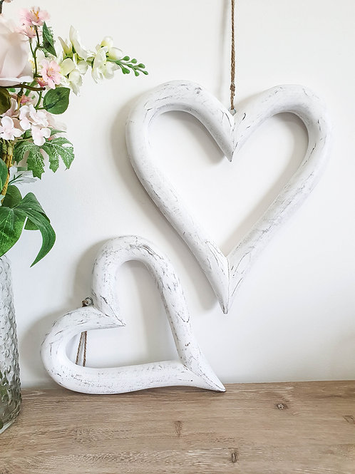 Distressed White Hanging Hearts