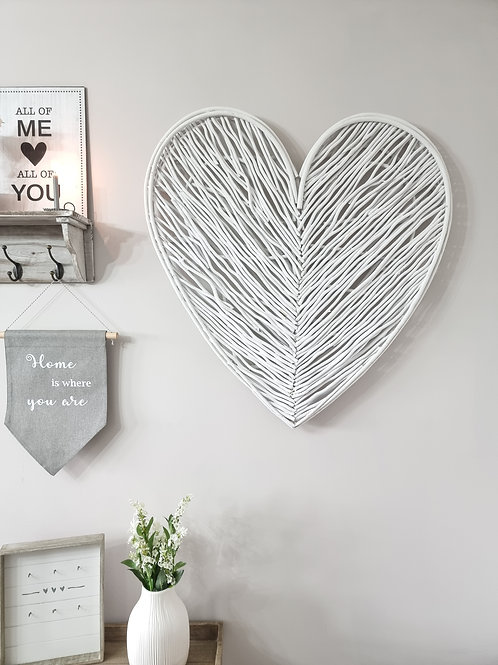 White Washed Wicker Wall Heart