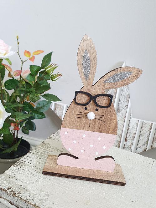 Pink Polka Dot Bunny With Glitter Ears