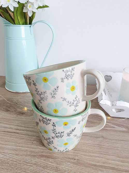 Pastel Blue & Yellow Floral Mug