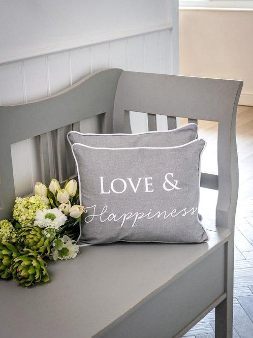 Dove Grey Love & Happiness Cushion