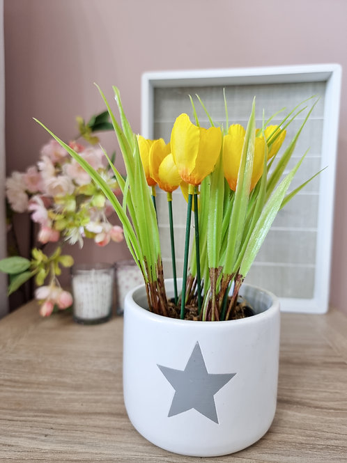 Faux Mini Yellow Potted Tulips