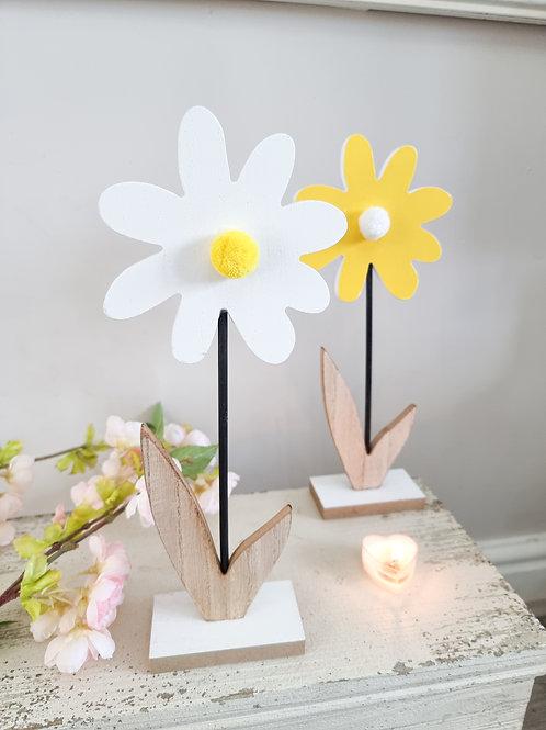 Summer Pom Pom Wooden Flower