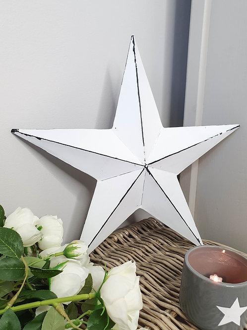 White Distressed Metal Barn Star