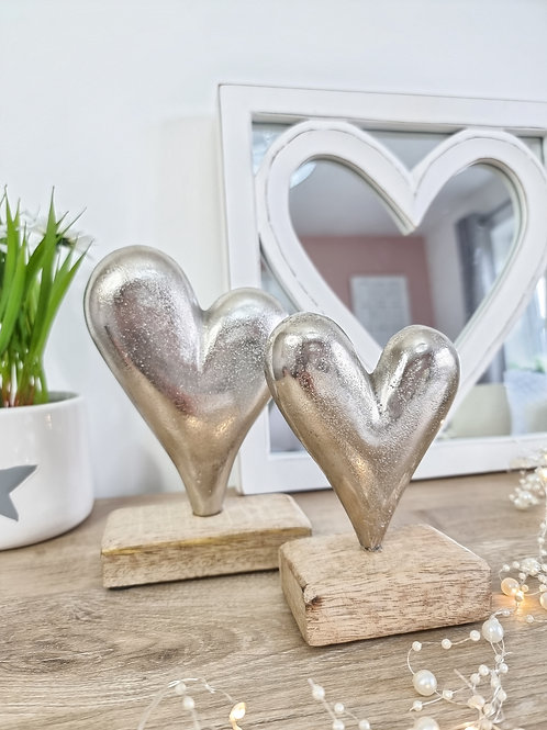 Silver Hearts With Mango Wood Base