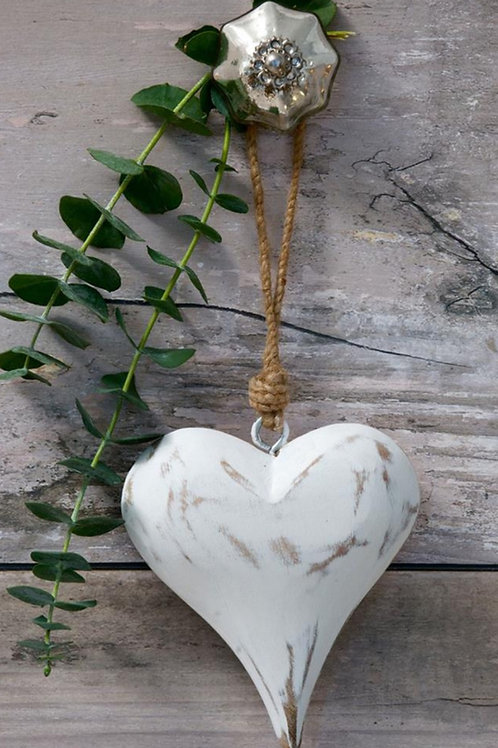 Chunky White Wooden Hanging Heart
