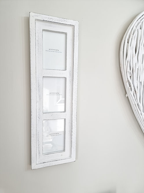 Distressed White Triple Photo Frame