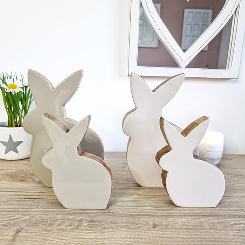 Glossy Taupe Wooden Bunny Figure