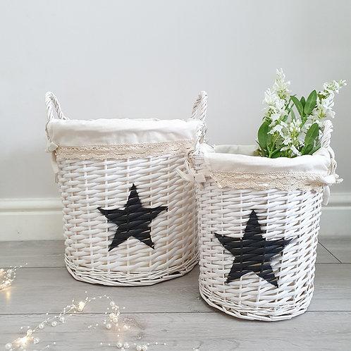 White Wicker Basket With Black Star