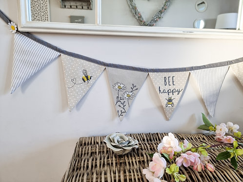 Grey 'Bee Happy' Embroidered Fabric Bunting