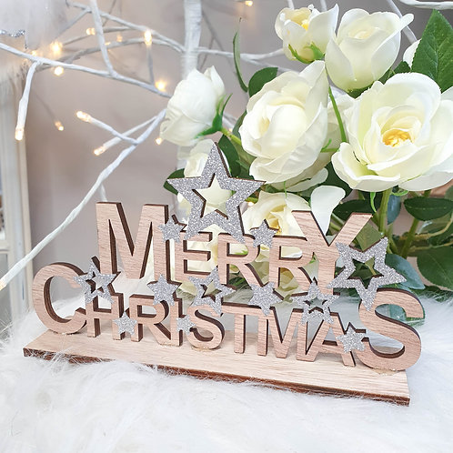 Mini Silver Glitter Merry Christmas Plaque