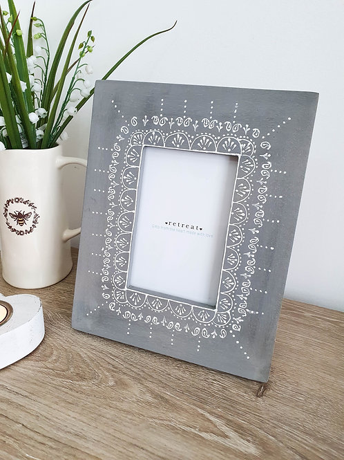 Hand Painted Grey Paisley Photo Frame